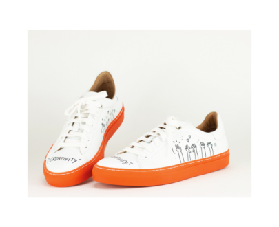 RETRO SNEAKER - WEISS/ORANGE