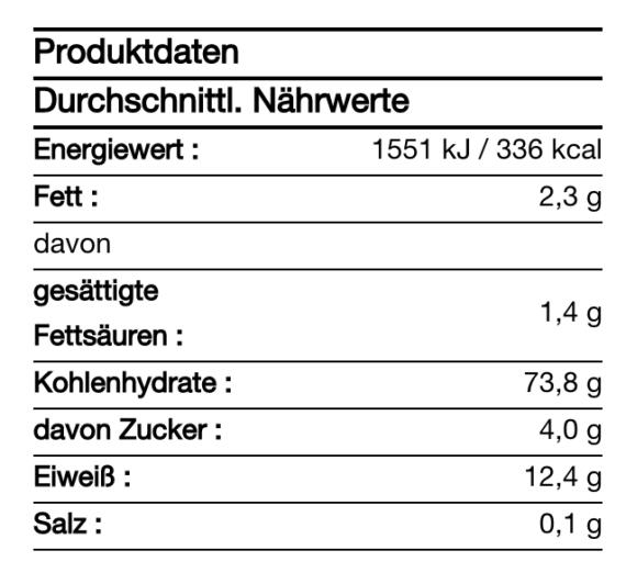 hanf&natur BIO Hanf-Dinkel-Nudeln 250g Nährwerte